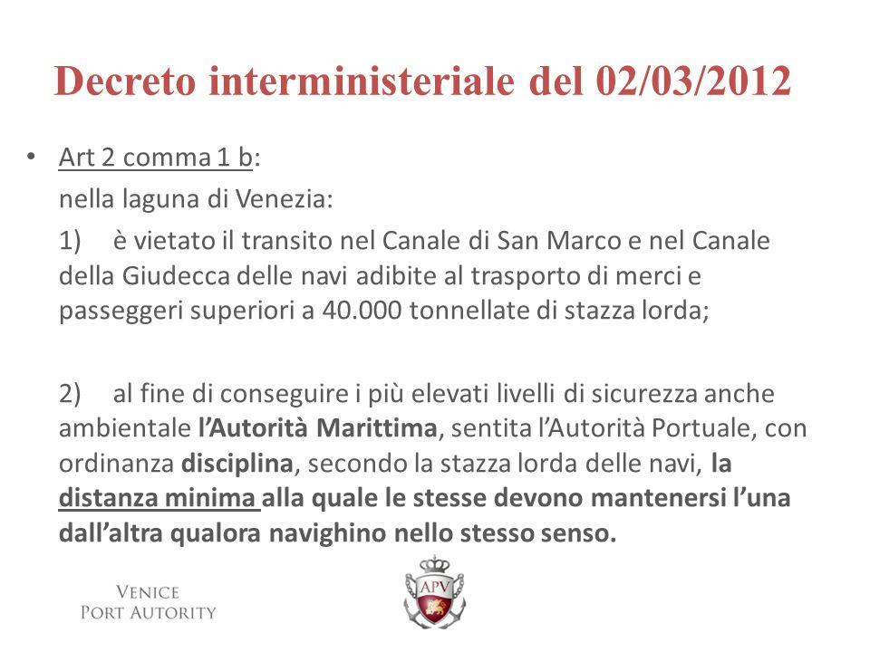 Decreto interministeriale del 02/03/2012 Art 2 comma 1 b: nella laguna di Venezia: 1)è vietato il transito nel Canale di San Marco e nel Canale della