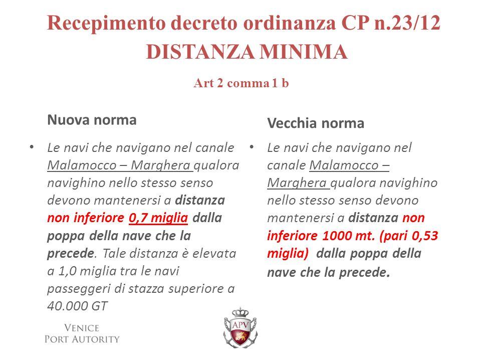 Recepimento decreto ordinanza CP n.23/12 DISTANZA MINIMA Art 2 comma 1 b Nuova norma Le navi che navigano nel canale Malamocco – Marghera qualora navi