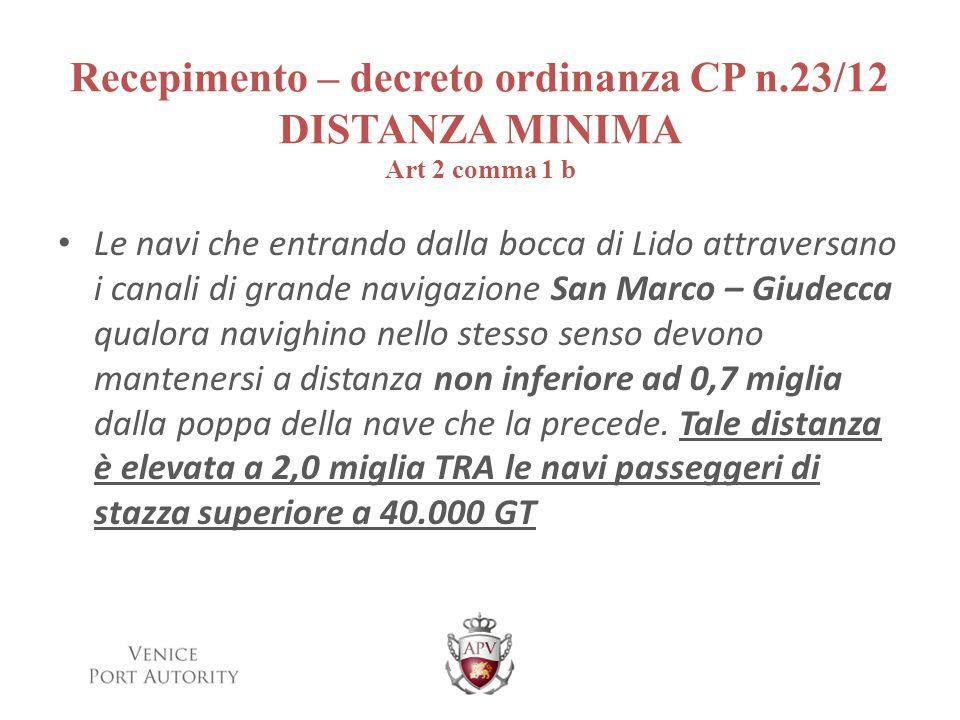 Recepimento – decreto ordinanza CP n.23/12 DISTANZA MINIMA Art 2 comma 1 b Le navi che entrando dalla bocca di Lido attraversano i canali di grande na