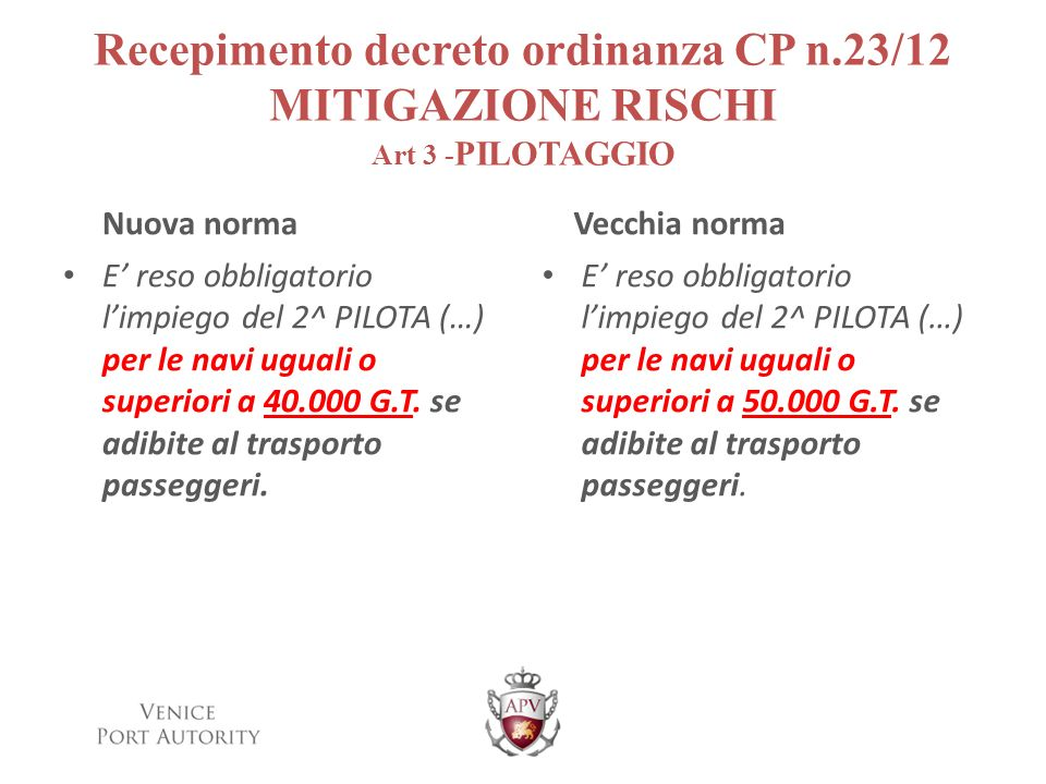 Recepimento decreto ordinanza CP n.23/12 MITIGAZIONE RISCHI Art 3 - PILOTAGGIO Nuova norma E reso obbligatorio limpiego del 2^ PILOTA (…) per le navi