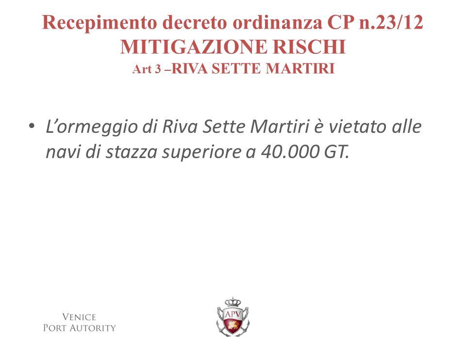 Recepimento decreto ordinanza CP n.23/12 MITIGAZIONE RISCHI Art 3 – RIVA SETTE MARTIRI Lormeggio di Riva Sette Martiri è vietato alle navi di stazza s