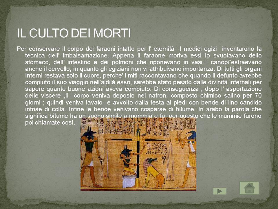 Per conservare il corpo dei faraoni intatto per l eternità I medici egizi inventarono la tecnica dell imbalsamazione. Appena il faraone moriva essi lo