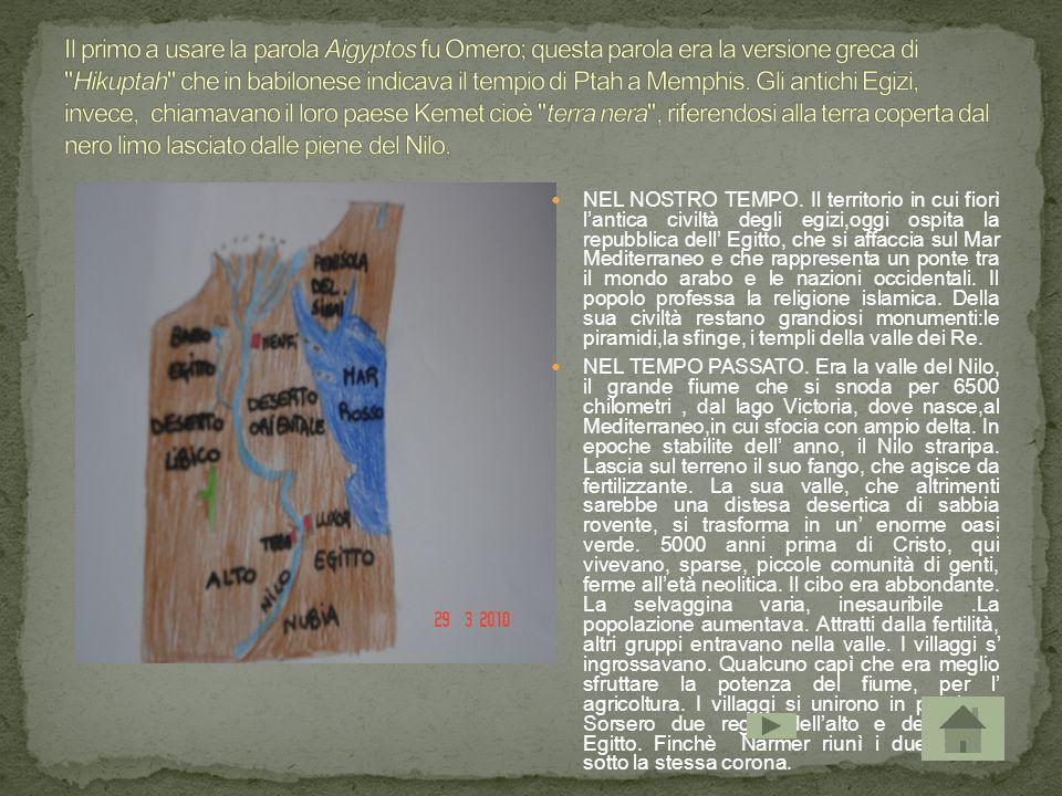NEL NOSTRO TEMPO. Il territorio in cui fiorì lantica civiltà degli egizi,oggi ospita la repubblica dell Egitto, che si affaccia sul Mar Mediterraneo e