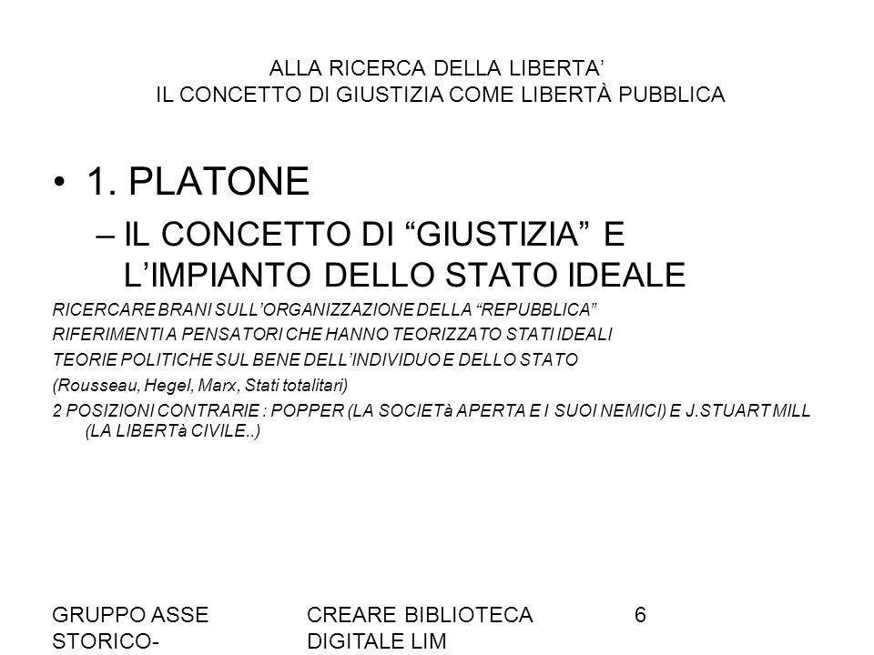 GRUPPO ASSE STORICO- SOCIALE A036/37 CREARE BIBLIOTECA DIGITALE LIM 6 ALLA RICERCA DELLA LIBERTA IL CONCETTO DI GIUSTIZIA COME LIBERTÀ PUBBLICA 1.