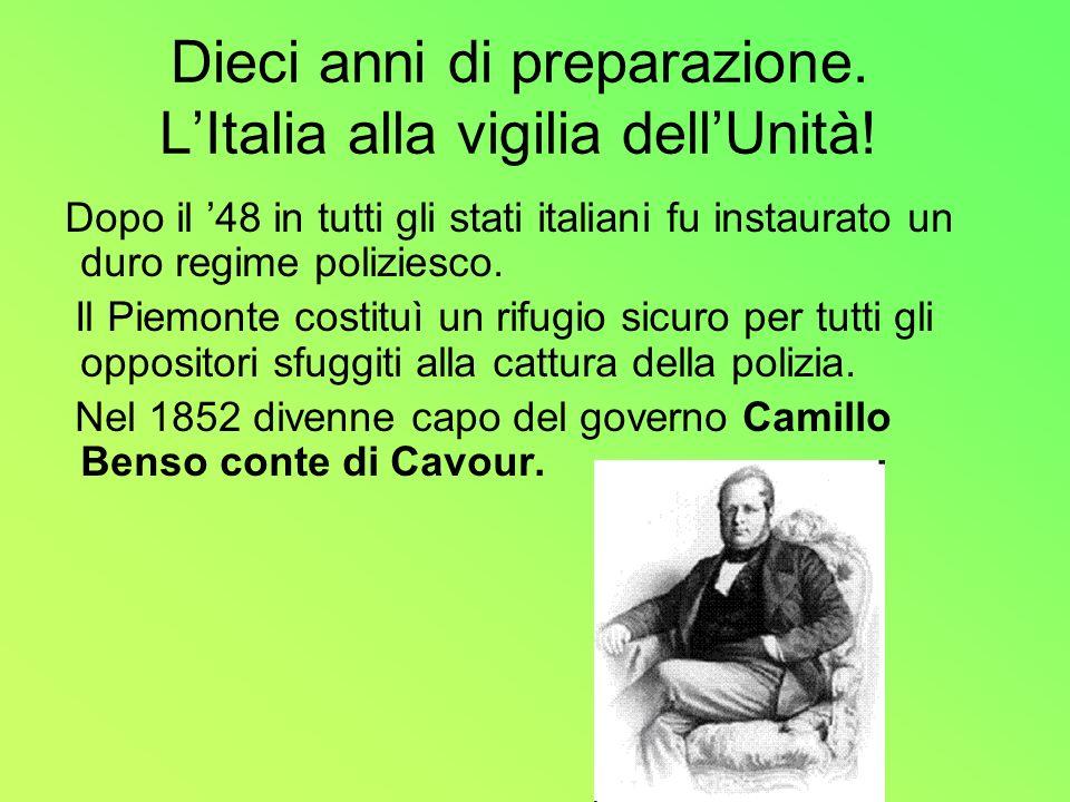 Dieci anni di preparazione. LItalia alla vigilia dellUnità! Dopo il 48 in tutti gli stati italiani fu instaurato un duro regime poliziesco. Il Piemont