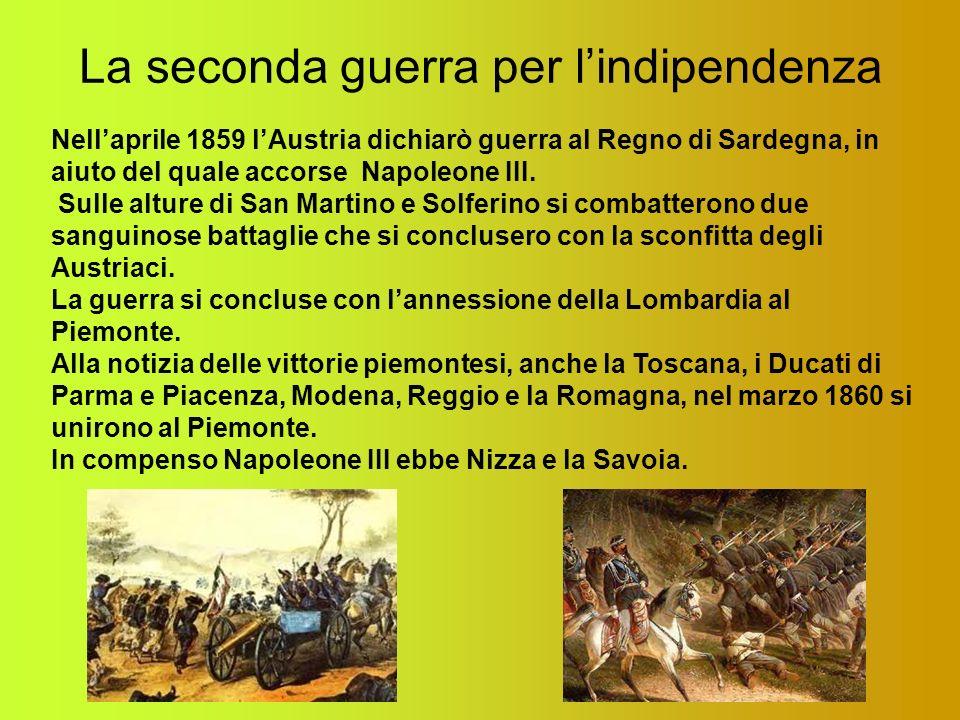 La seconda guerra per lindipendenza Nellaprile 1859 lAustria dichiarò guerra al Regno di Sardegna, in aiuto del quale accorse Napoleone III. Sulle alt
