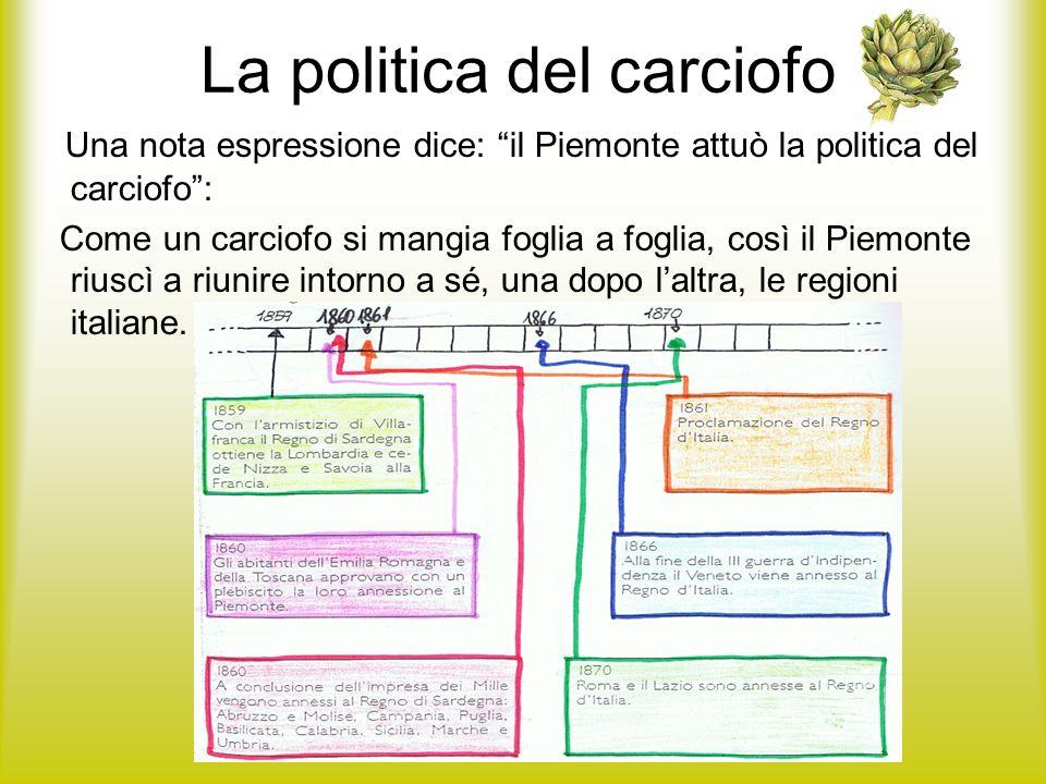 La politica del carciofo Una nota espressione dice: il Piemonte attuò la politica del carciofo: Come un carciofo si mangia foglia a foglia, così il Pi
