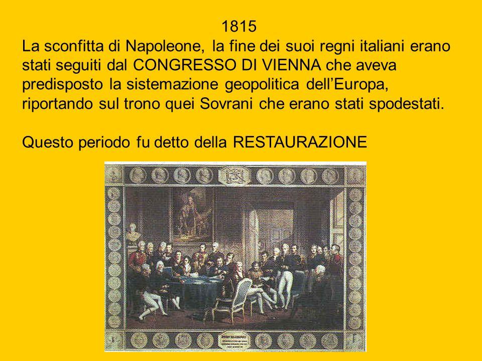 1815 La sconfitta di Napoleone, la fine dei suoi regni italiani erano stati seguiti dal CONGRESSO DI VIENNA che aveva predisposto la sistemazione geop