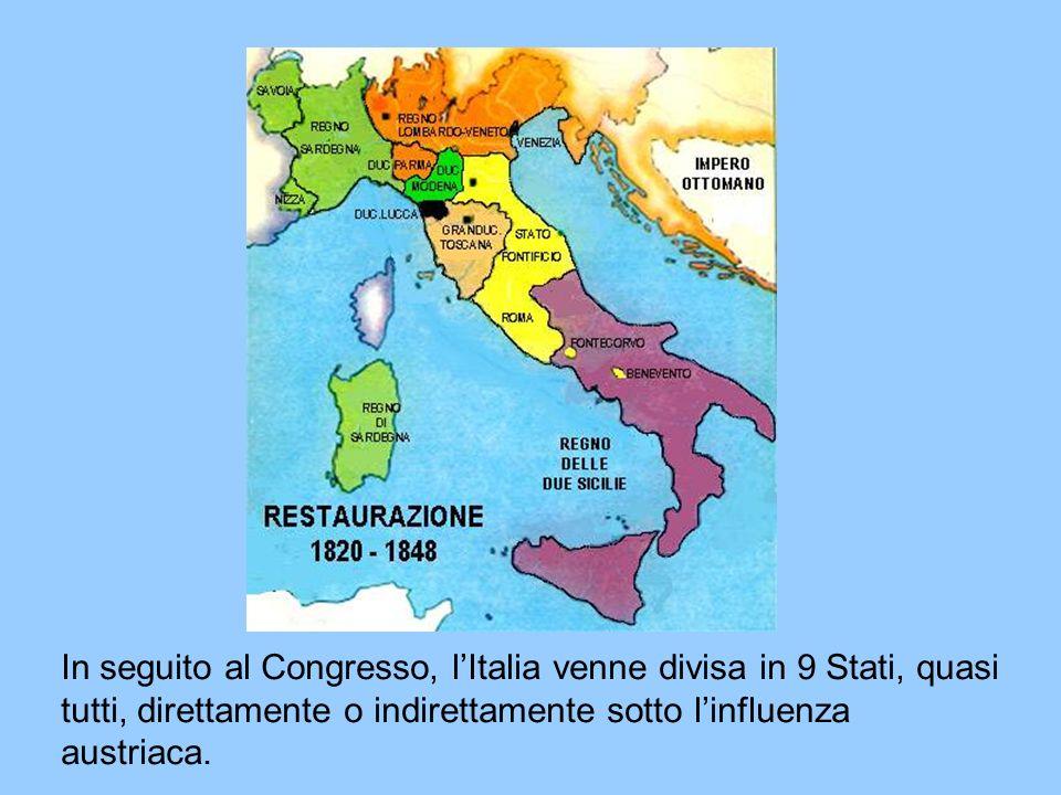 In seguito al Congresso, lItalia venne divisa in 9 Stati, quasi tutti, direttamente o indirettamente sotto linfluenza austriaca.