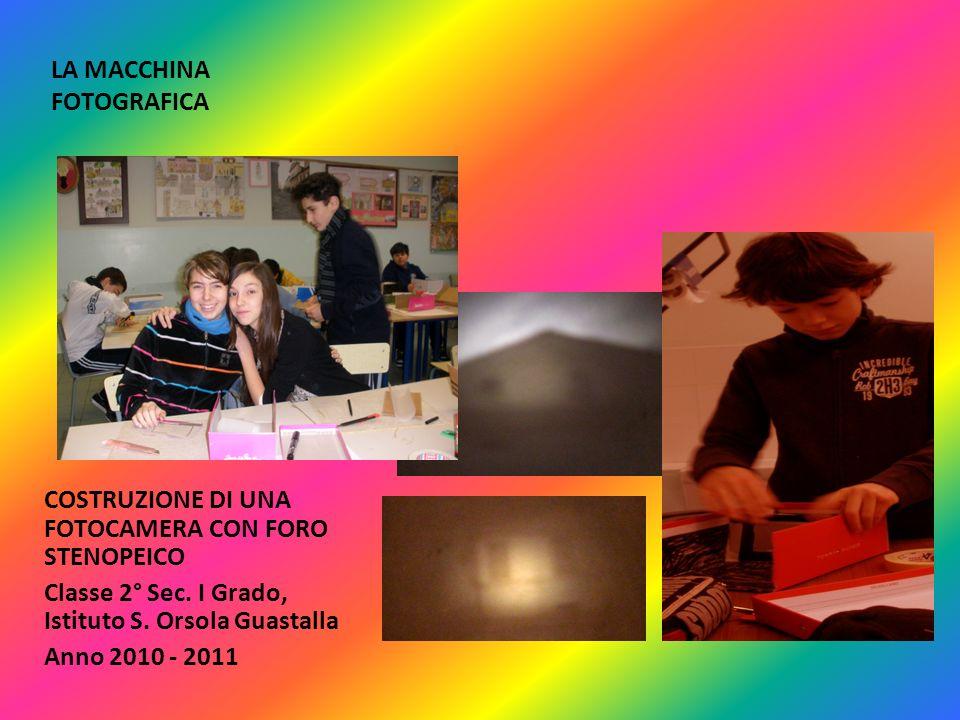 LA MACCHINA FOTOGRAFICA COSTRUZIONE DI UNA FOTOCAMERA CON FORO STENOPEICO Classe 2° Sec. I Grado, Istituto S. Orsola Guastalla Anno 2010 - 2011