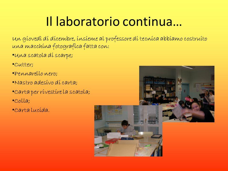 Il laboratorio continua… Un giovedì di dicembre, insieme al professore di tecnica abbiamo costruito una macchina fotografica fatta con: Una scatola di