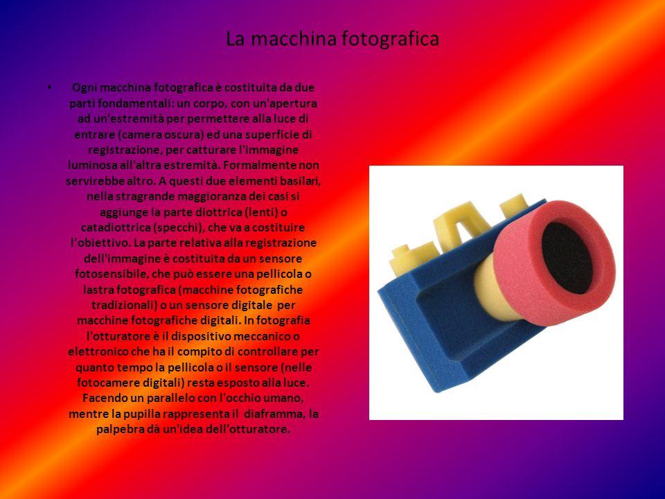 La macchina fotografica Ogni macchina fotografica è costituita da due parti fondamentali: un corpo, con un'apertura ad un'estremità per permettere all