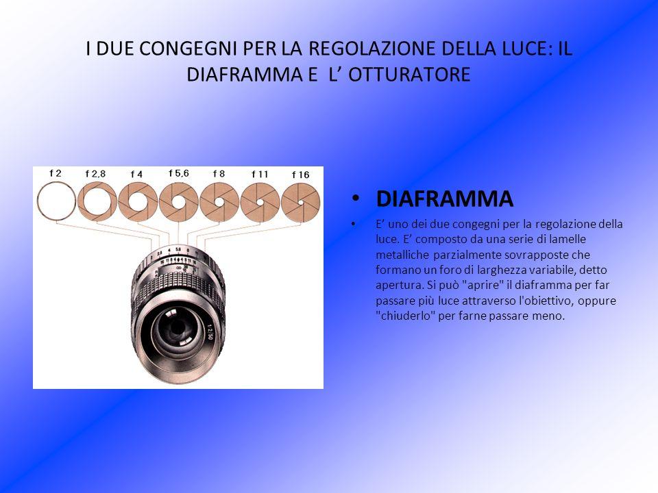 I DUE CONGEGNI PER LA REGOLAZIONE DELLA LUCE: IL DIAFRAMMA E L OTTURATORE DIAFRAMMA E uno dei due congegni per la regolazione della luce. E composto d