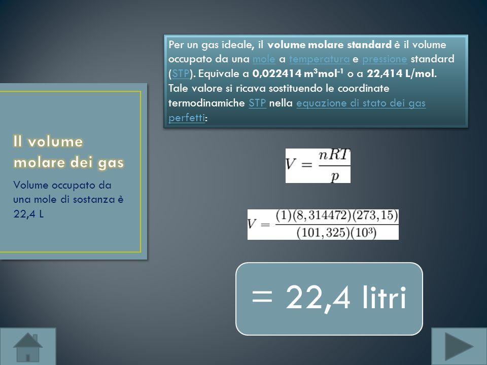Volume occupato da una mole di sostanza è 22,4 L Per un gas ideale, il volume molare standard è il volume occupato da una mole a temperatura e pressio