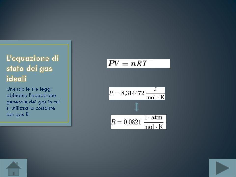 Unendo le tre leggi abbiamo lequazione generale dei gas in cui si utilizza la costante dei gas R.