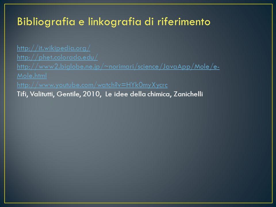 Bibliografia e linkografia di riferimento http://it.wikipedia.org/ http://phet.colorado.edu/ http://www2.biglobe.ne.jp/~norimari/science/JavaApp/Mole/