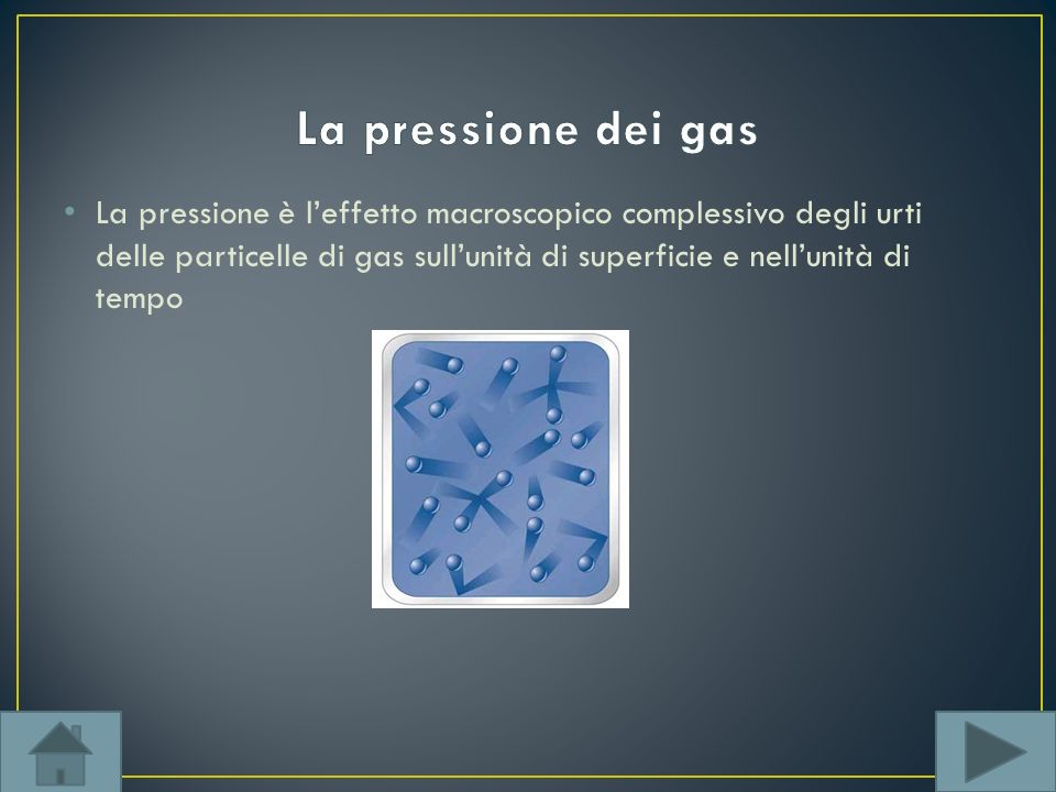 La pressione è leffetto macroscopico complessivo degli urti delle particelle di gas sullunità di superficie e nellunità di tempo