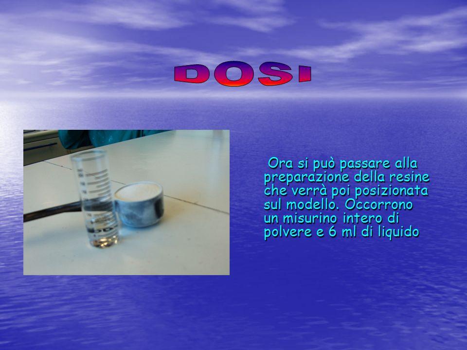 Ora si può passare alla preparazione della resine che verrà poi posizionata sul modello. Occorrono un misurino intero di polvere e 6 ml di liquido Ora