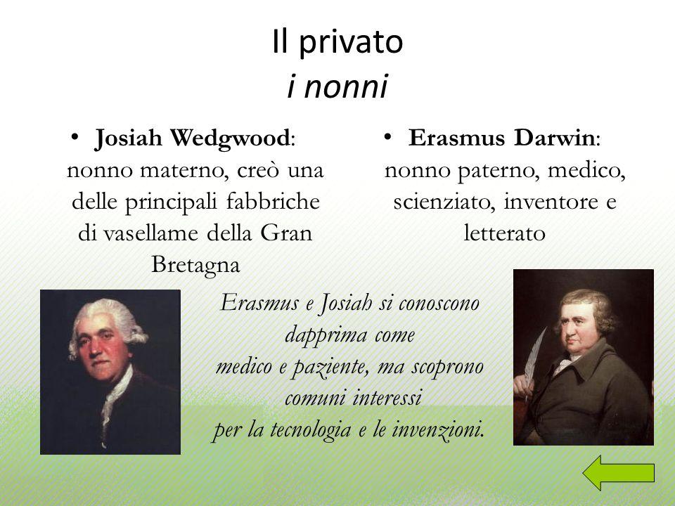 Il privato i nonni Josiah Wedgwood: nonno materno, creò una delle principali fabbriche di vasellame della Gran Bretagna Erasmus Darwin: nonno paterno,