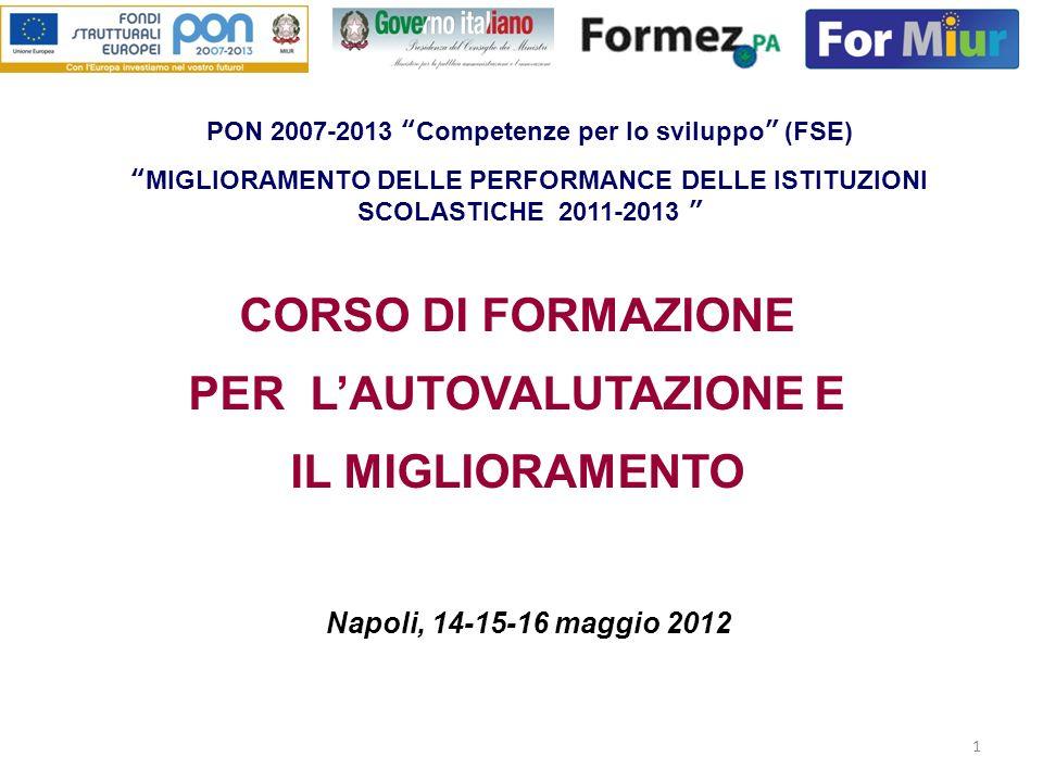 1 CORSO DI FORMAZIONE PER LAUTOVALUTAZIONE E IL MIGLIORAMENTO Napoli, 14-15-16 maggio 2012 PON 2007-2013 Competenze per lo sviluppo (FSE) MIGLIORAMENT