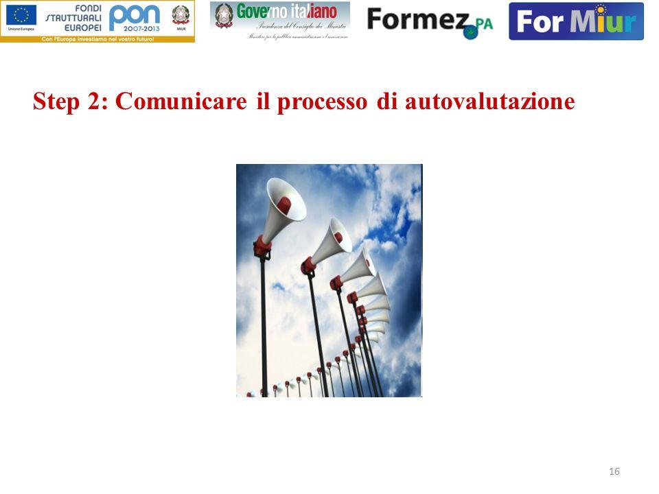 16 Step 2: Comunicare il processo di autovalutazione