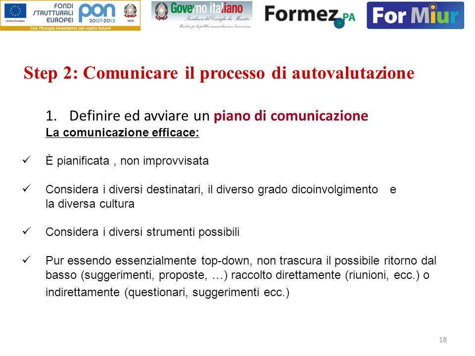 18 Step 2: Comunicare il processo di autovalutazione 1.Definire ed avviare un piano di comunicazione La comunicazione efficace: È pianificata, non imp