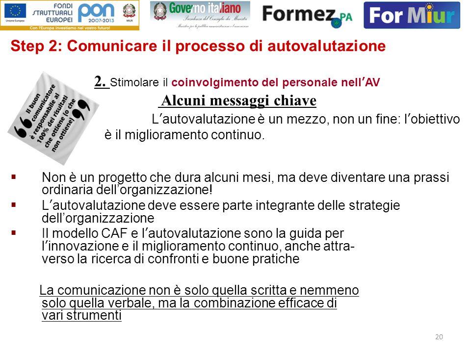 20 Step 2: Comunicare il processo di autovalutazione Lautovalutazione è un mezzo, non un fine: lobiettivo è il miglioramento continuo. Non è un proget