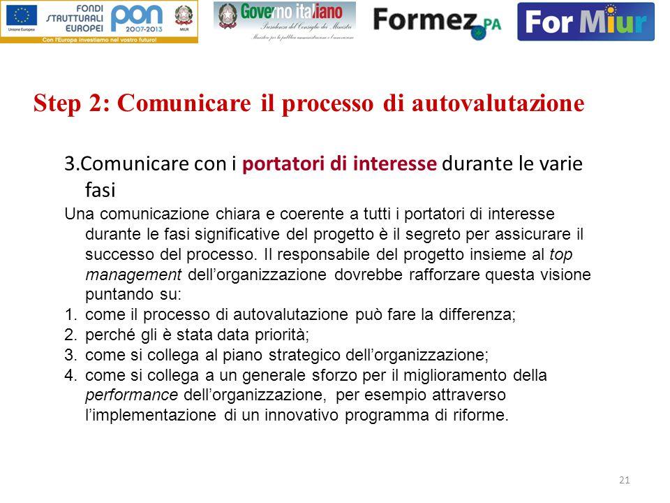 21 Step 2: Comunicare il processo di autovalutazione 3.Comunicare con i portatori di interesse durante le varie fasi Una comunicazione chiara e coeren