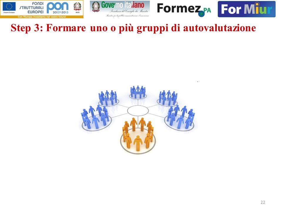 22 Step 3: Formare uno o più gruppi di autovalutazione