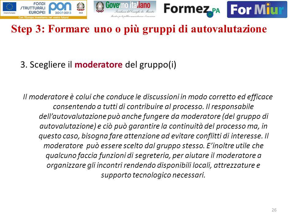 26 3. Scegliere il moderatore del gruppo(i) Il moderatore è colui che conduce le discussioni in modo corretto ed efficace consentendo a tutti di contr