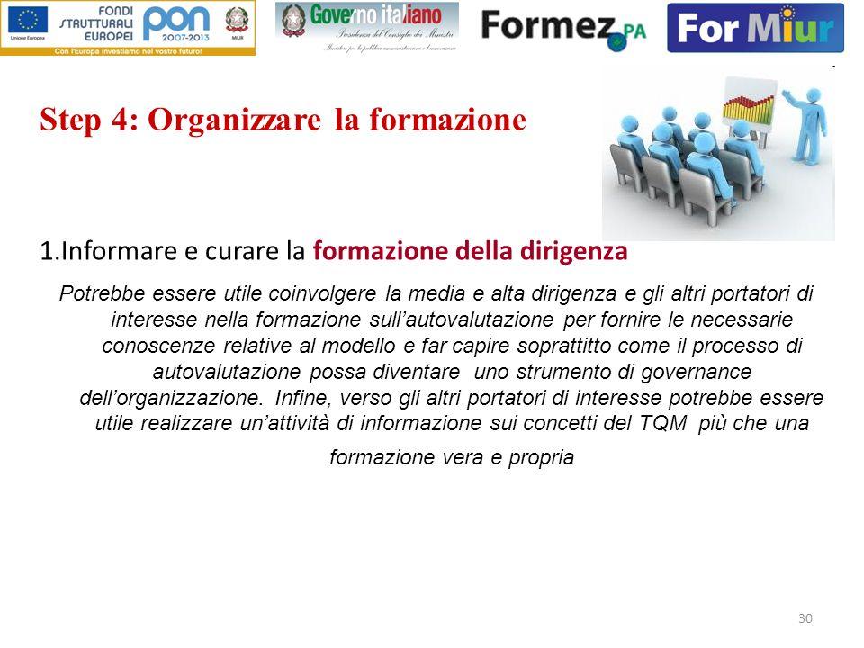 30 Step 4: Organizzare la formazione 1.Informare e curare la formazione della dirigenza Potrebbe essere utile coinvolgere la media e alta dirigenza e