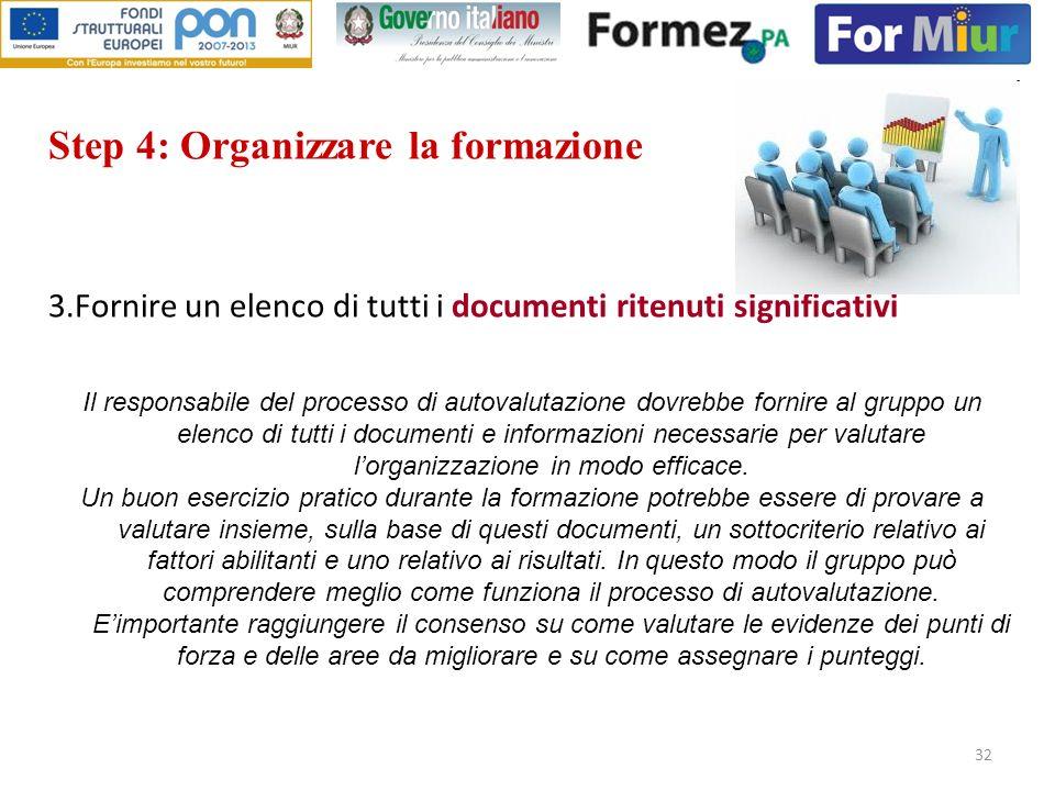 32 Step 4: Organizzare la formazione 3.Fornire un elenco di tutti i documenti ritenuti significativi Il responsabile del processo di autovalutazione d