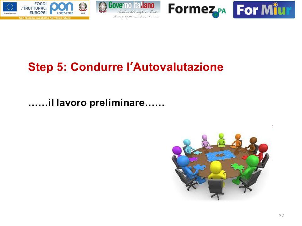 37 Step 5: Condurre lAutovalutazione ……il lavoro preliminare……