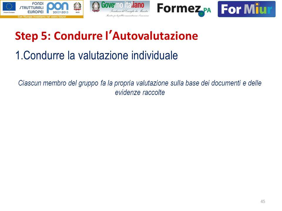 45 Step 5: Condurre lAutovalutazione 1.Condurre la valutazione individuale Ciascun membro del gruppo fa la propria valutazione sulla base dei document