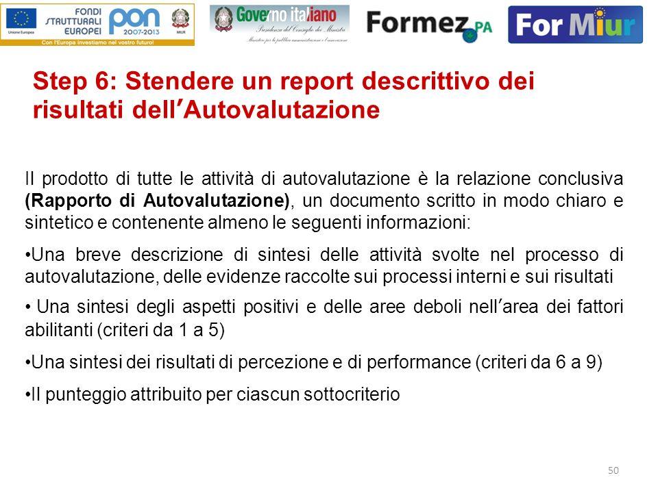 50 Il prodotto di tutte le attività di autovalutazione è la relazione conclusiva (Rapporto di Autovalutazione), un documento scritto in modo chiaro e
