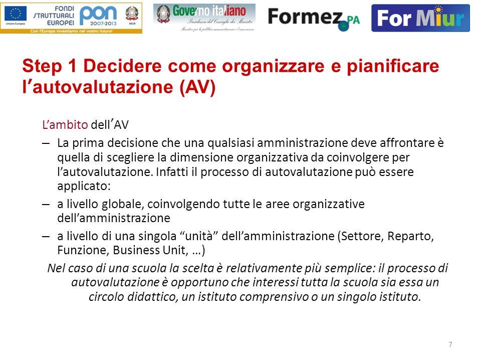 7 Step 1 Decidere come organizzare e pianificare lautovalutazione (AV) Lambito dellAV – La prima decisione che una qualsiasi amministrazione deve affr