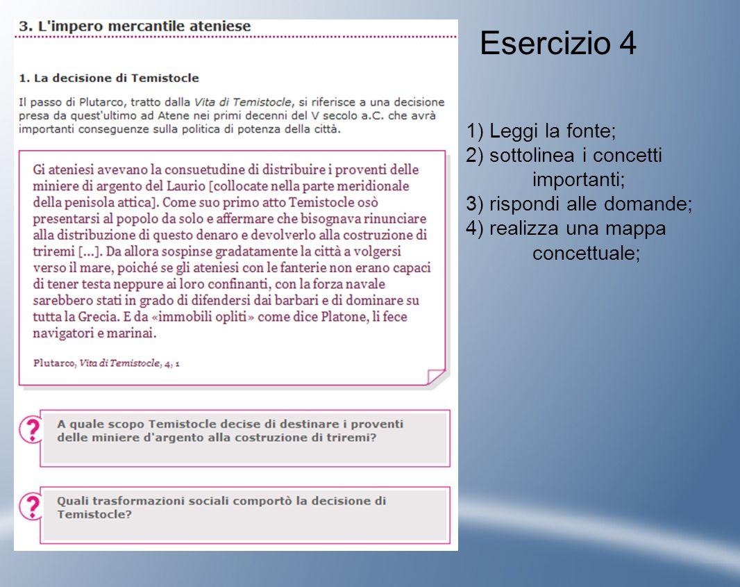 1) Leggi la fonte; 2) sottolinea i concetti importanti; 3) rispondi alle domande; 4) realizza una mappa concettuale; Esercizio 4