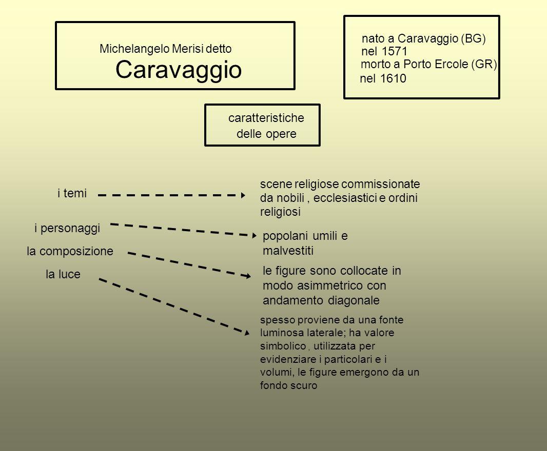 Caravaggio Michelangelo Merisi detto nato a Caravaggio (BG) nel 1571 morto a Porto Ercole (GR) nel 1610 caratteristiche i temi la composizione la luce
