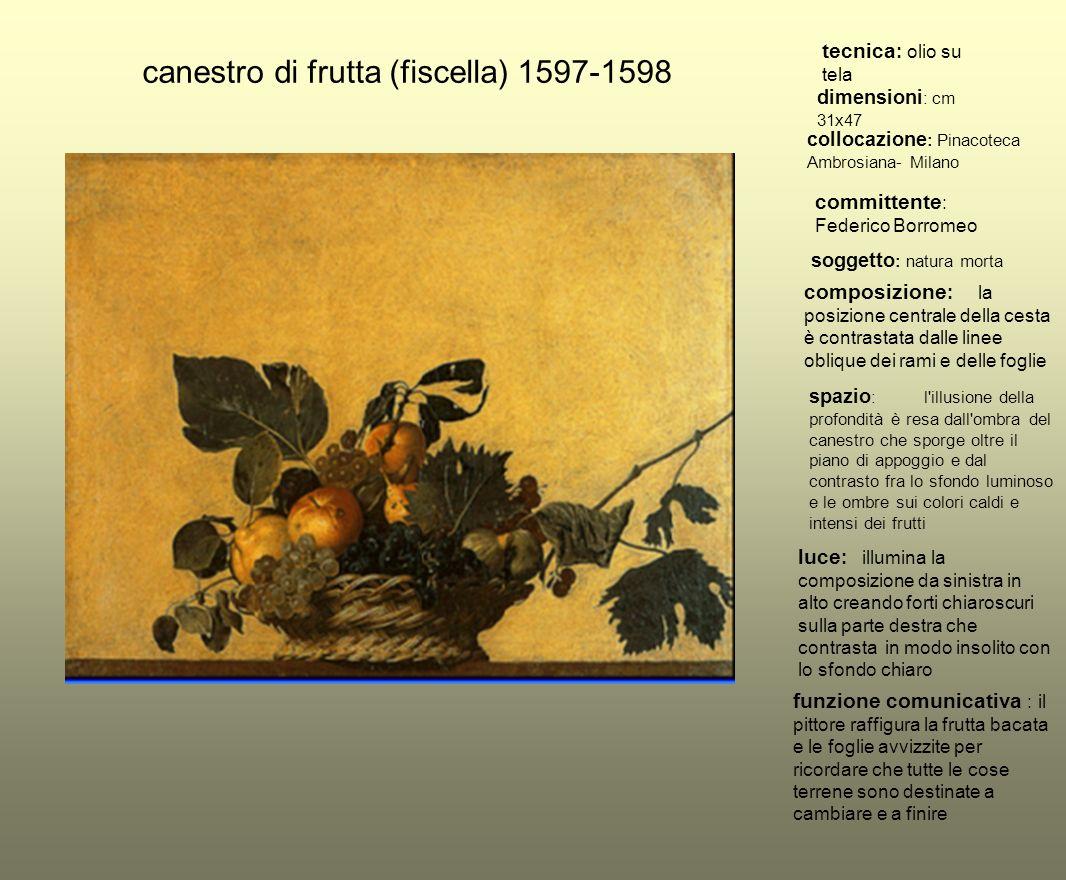 canestro di frutta (fiscella) 1597-1598 tecnica : olio su tela dimensioni : cm 31x47 collocazione : Pinacoteca Ambrosiana- Milano committente : Federi