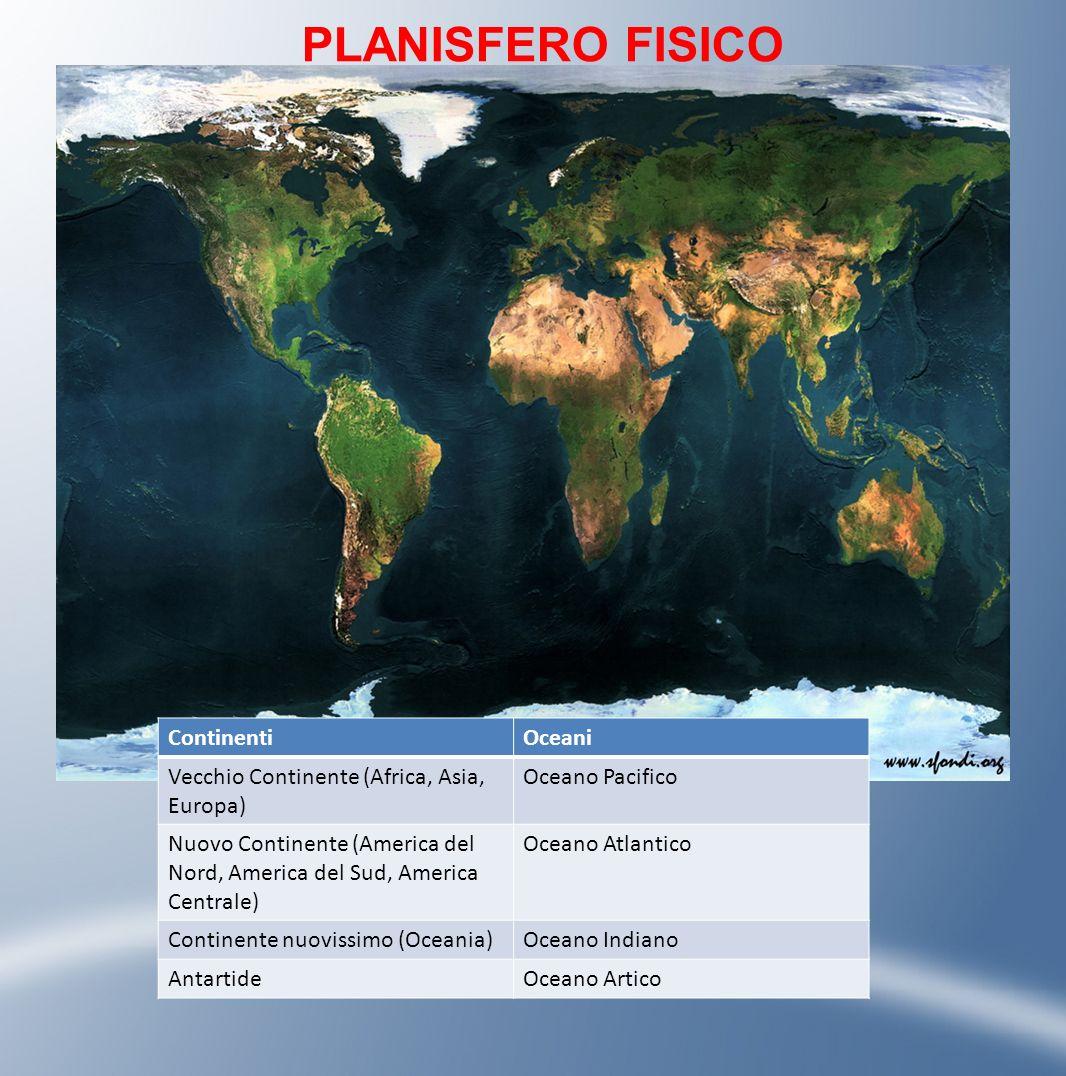 PLANISFERO FISICO ContinentiOceani Vecchio Continente (Africa, Asia, Europa) Oceano Pacifico Nuovo Continente (America del Nord, America del Sud, Amer