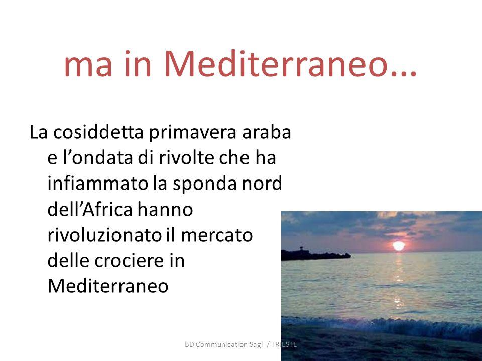 ma in Mediterraneo … La cosiddetta primavera araba e londata di rivolte che ha infiammato la sponda nord dellAfrica hanno rivoluzionato il mercato delle crociere in Mediterraneo BD Communication Sagl / TRIESTE