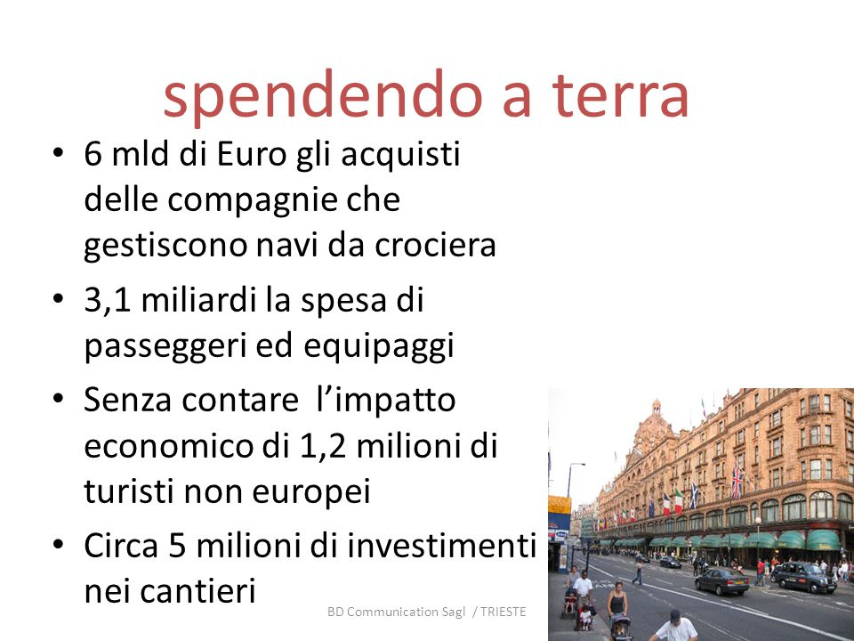 spendendo a terra 6 mld di Euro gli acquisti delle compagnie che gestiscono navi da crociera 3,1 miliardi la spesa di passeggeri ed equipaggi Senza co