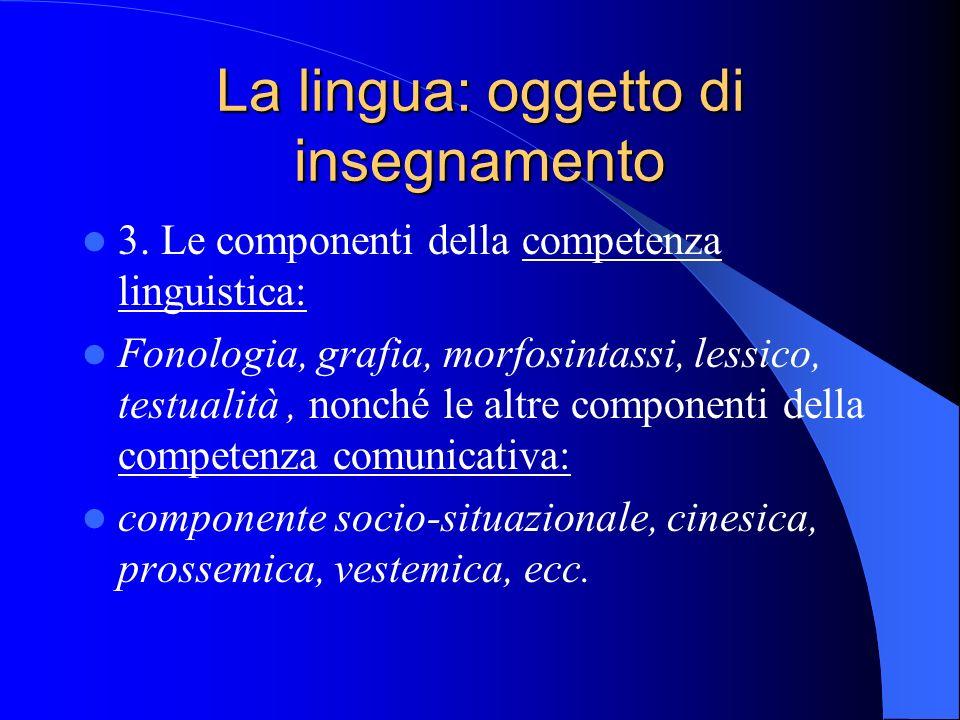 La lingua: oggetto di insegnamento 3. Le componenti della competenza linguistica: Fonologia, grafia, morfosintassi, lessico, testualità, nonché le alt