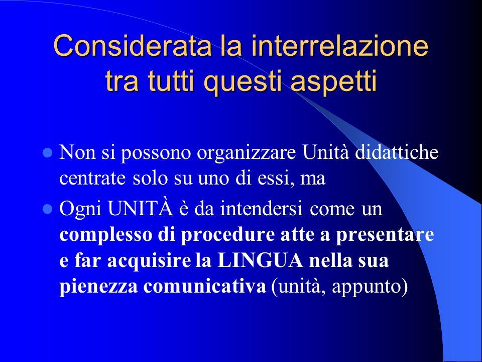 Considerata la interrelazione tra tutti questi aspetti Non si possono organizzare Unità didattiche centrate solo su uno di essi, ma Ogni UNITÀ è da in