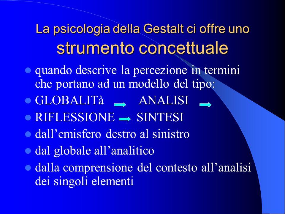 La psicologia della Gestalt ci offre uno strumento concettuale quando descrive la percezione in termini che portano ad un modello del tipo: GLOBALITà