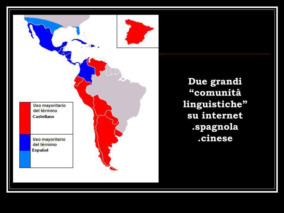 Due grandi comunità linguistiche su internet.spagnola.cinese