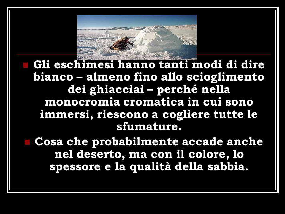 Gli eschimesi hanno tanti modi di dire bianco – almeno fino allo scioglimento dei ghiacciai – perché nella monocromia cromatica in cui sono immersi, r