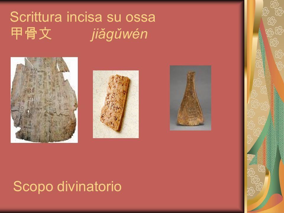 Scrittura incisa su ossa jiǎgǔwén Scopo divinatorio