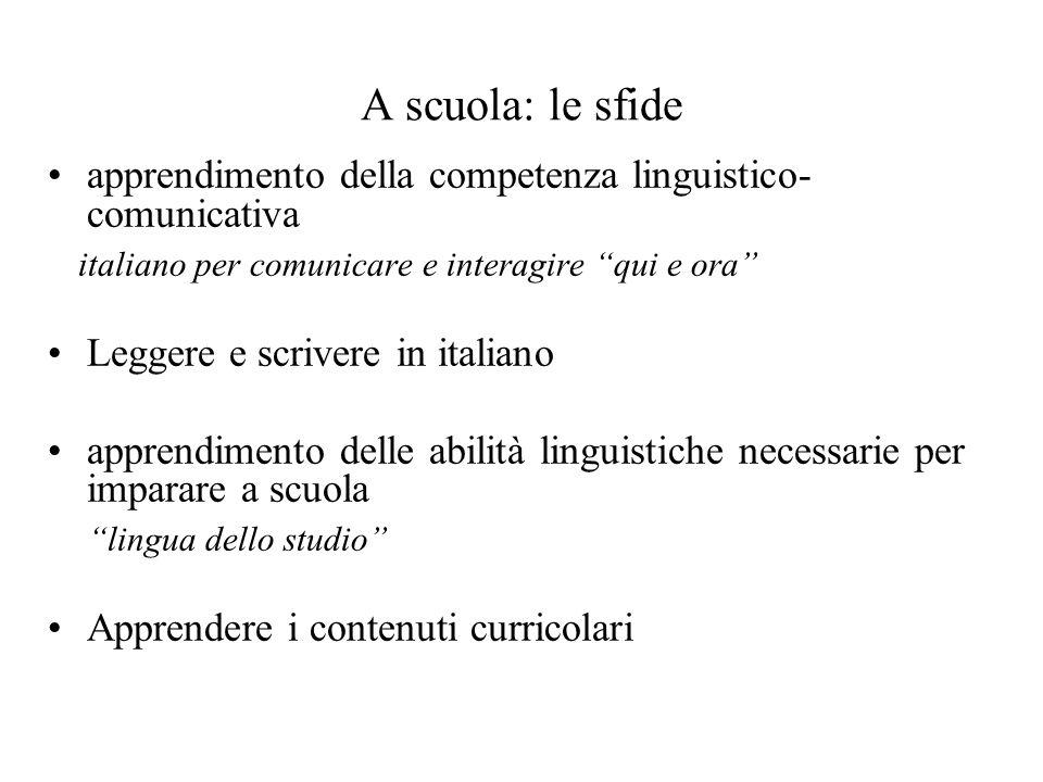 A scuola: le sfide apprendimento della competenza linguistico- comunicativa italiano per comunicare e interagire qui e ora Leggere e scrivere in italiano apprendimento delle abilità linguistiche necessarie per imparare a scuola lingua dello studio Apprendere i contenuti curricolari