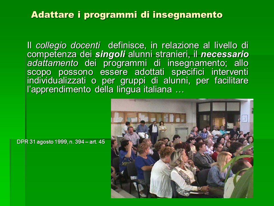 Adattare i programmi di insegnamento Il collegio docenti definisce, in relazione al livello di competenza dei singoli alunni stranieri, il necessario